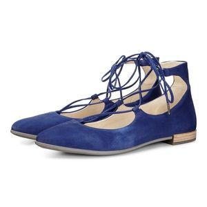 Ecco Shape Tie Up Ballerina Flat Suede Blue 37